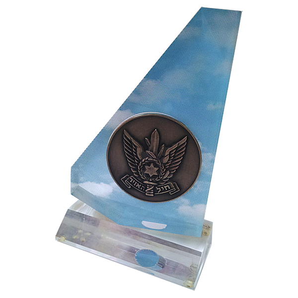Israel_air_force__Metal_medal_in_lucite_perspex award__on_base.png