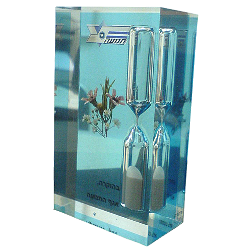 Police-Trnasporation-department-lucite-perspex-award-with-sand-clock-inside.png